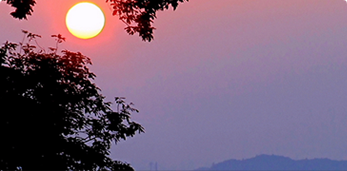 展望台から見える朝日